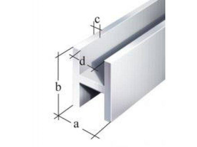 Super H-Profil Alu Silber eloxiert - 2000mm - 22 x 30mm für 19mm Platt RX98