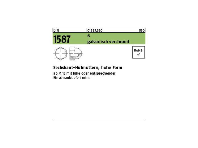 20 Hutmuttern M8 verzinkt DIN1587 Mutter