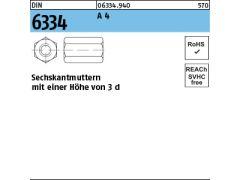 verzinkt f 100x DIN 6334 Sechskantmuttern M 6 Höhe 3 d Stahl Klasse 10 galv