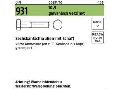 10 Stk Sechskantschraube mit Schaft DIN 931 10.9 M10 x 130 verzinkt