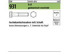 M20x250 DIN 931 8.8 galvanisch verzinkt Sechskantschrauben mit Schaft Abmessung 1 St/ück
