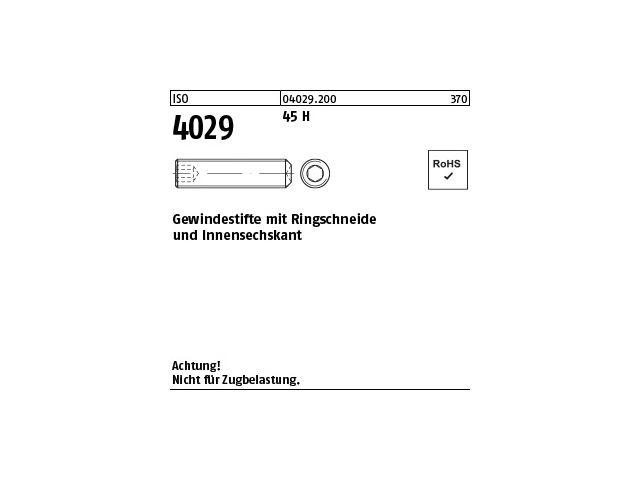 Gewindestifte Madenschraube Innensechskant Ringschneide ISO 4029 Edelstahl A4