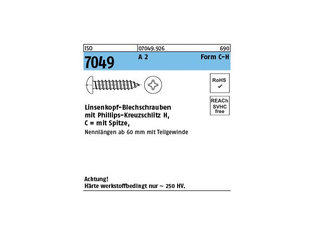 Niro Schrauben Blechschrauben Halbrundkopf mit Kreuzschlitz 3,9 x 16 mm 100 Stk.