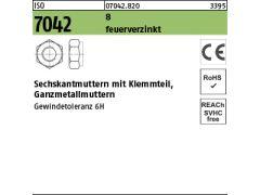 Stahl Klasse 6 galv 500x DIN 985 Sechskantmuttern mit Klemmteil verzinkt M 6