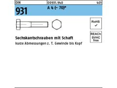 Sechskantschrauben DIN931 ISO4014 100 ST 8.8 verzinkt     M10x50 ab