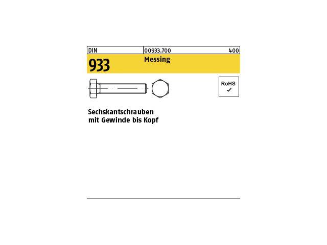 100 x  Sechskantschrauben mit Gewinde bis Kopf DIN 933 Messing M 6 x 50
