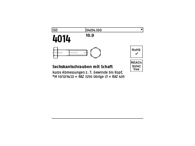 M 5 Sechskantschrauben mit Schaft ISO 4014 8.8 Stahl blank M 3