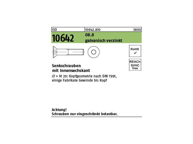 8.8 galvanisch verzinkt Innensechskant M 8 x 80 ISO 10642 Senkschraube
