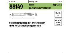 Stockschrauben mit metrischem und Holzschraubengewinde Edelstahl A2 Typ 23E