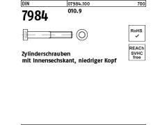 100 Inbus Zylinderkopfschrauben niedrig DIN 7984 8.8 schwarz M5x10
