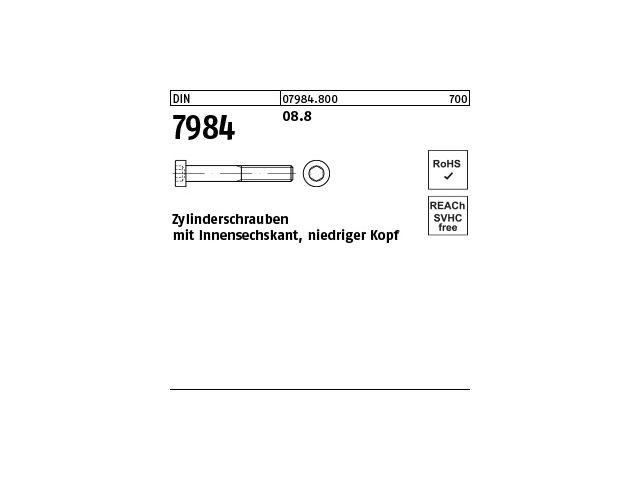 50x DIN 6912 Zylinderschraube niedriger Kopf M 6 x 16 8.8