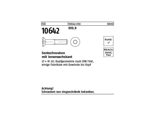 200 Inbus Senkkopfschrauben ISO 10642 10.9 schwarz M8x20