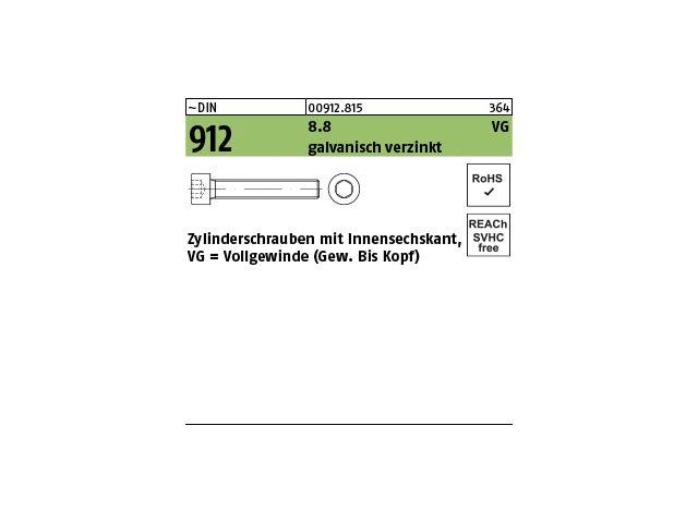 verzinkt Innensechskant Vollgewinde M10  8.8 galv DIN 912 Zylinderschraube
