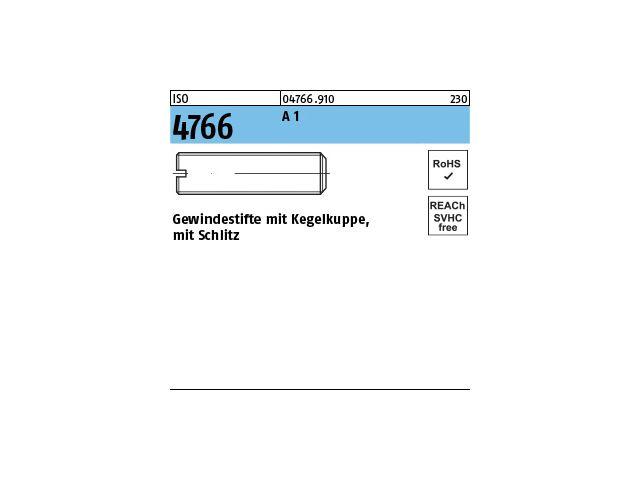Schlitz ISO 4766 14 H Stahl blank M 2,5 x 3-200 St/ück Gewindestift mit Kegelkuppe u