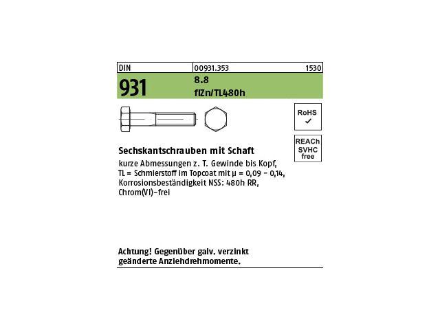 ISO4014 8.8 M 8x120 verzinkt Sechskantschraube mit Schaft DIN 931