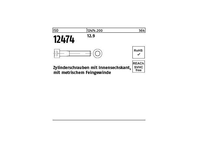 DIN 912 Zylinderschraube Innensechskant Feingewinde M16 x 1,5 x 80 12.9 blan