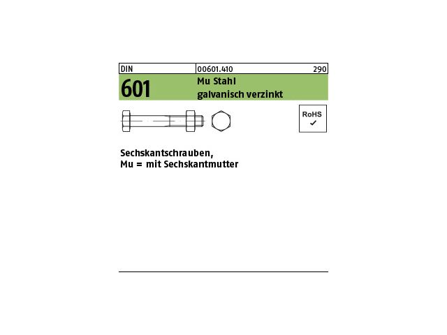 Stahl verzinkt 2 Stk Sechskantschraube /& Mutter DIN 601  M14