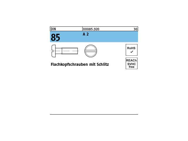 Edelstahl A2 mit Schlitz M 5x 35 200 Stück Flachkopfschrauben DIN 85