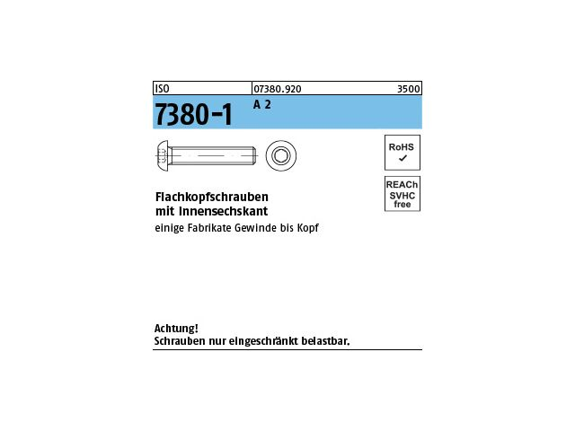 Linsenkopfschrauben Innensechskant ISO 7380 M3x12  EDELSTAHL A2 1000 St