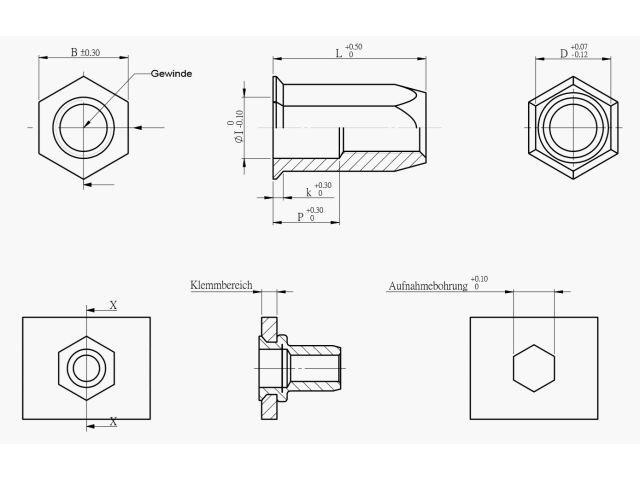 30x BLINDNIETMUTTERN Stahl verzinkt Flach Senkkopf Nietmutter M8 Teilsechskant