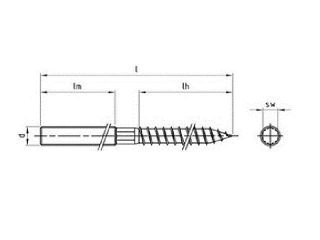Stockschrauben A2 M 10X140 Stockschrauben mit Holz-und ISO-Gewinde-A2 5 Stk